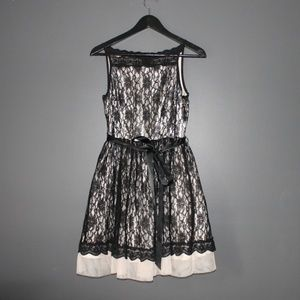 B. Darlin Spaghetti-Strap Lace Party Dress
